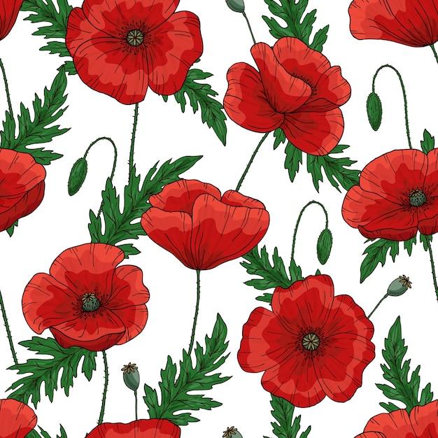 赤いポピーの花と無意味なパターン。 papaver。緑の茎と葉。 Premiumベクター