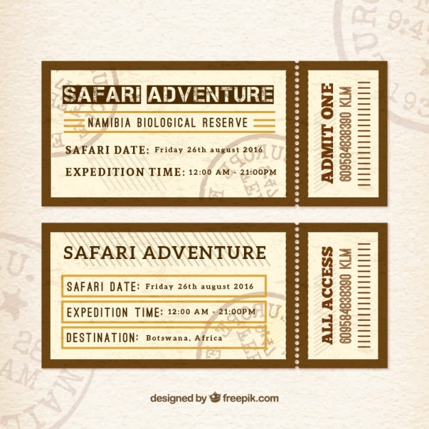 Safari adventure tickets in flat design