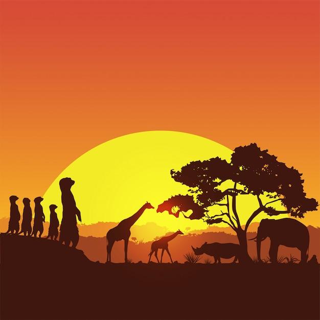 Сафари баннер, силуэт диких животных в южной африке Premium векторы