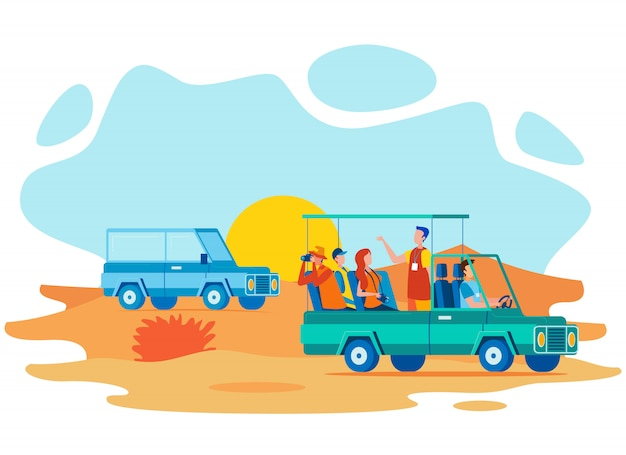 Safari guide road tour flat Premium Vector