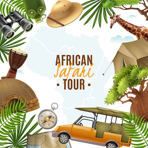 Safari realistic illustration with accessories frame Free Vector
