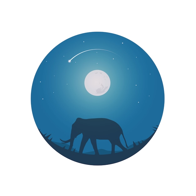Safari theme elephants full moon and night sky. Premium Vector