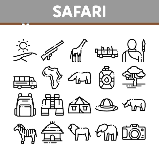 Safari travel collection элементы набор иконок Premium векторы