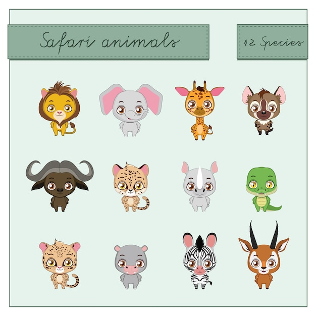 Коллекция safari животных Бесплатные векторы