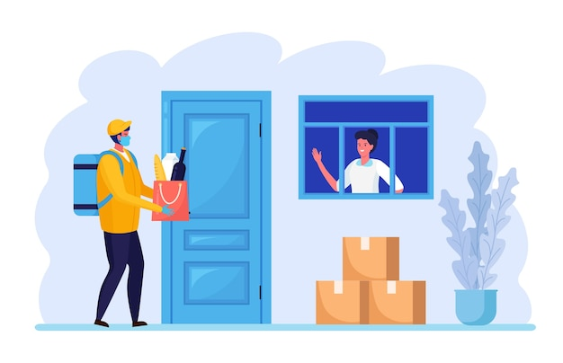 Safe contactless delivery to home. courier in face protective mask with grocery products bag near the door. quarantine rules Premium Vector
