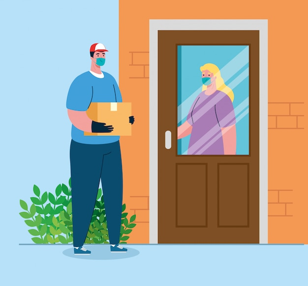 Safe contactless delivery to home to prevent the spread of coronavirus , woman at door Premium Vector