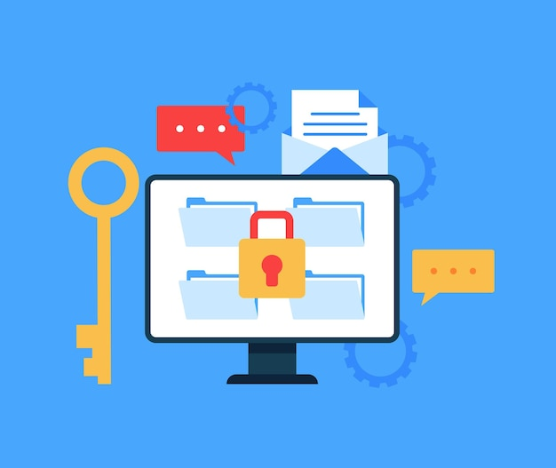 Safe data file document transfer concept. Premium Vector