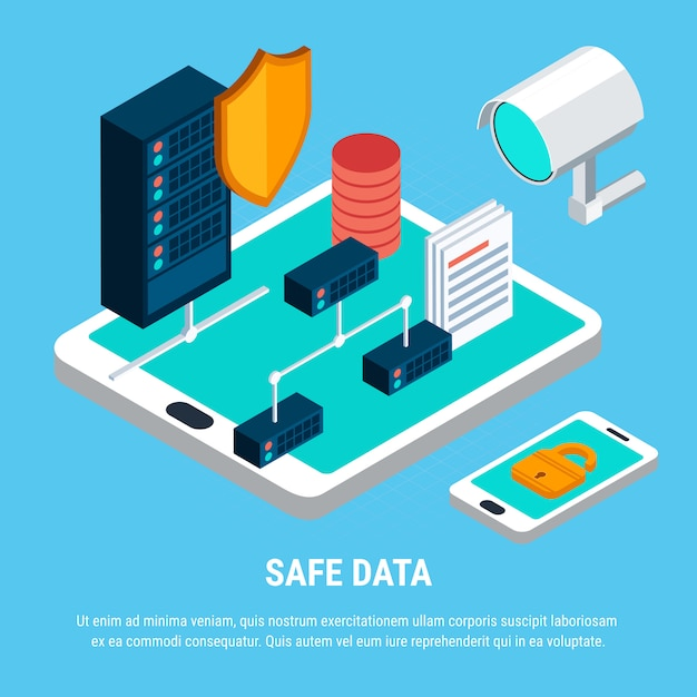 Safe data isometric Free Vector