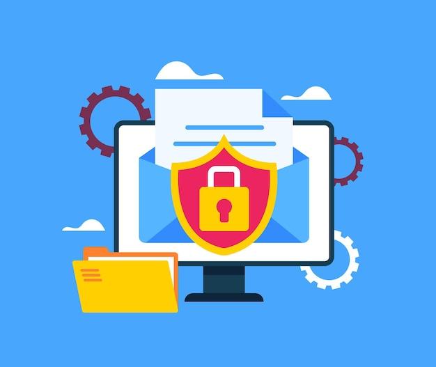 Safe data mile envelope file document transfer concept. Premium Vector