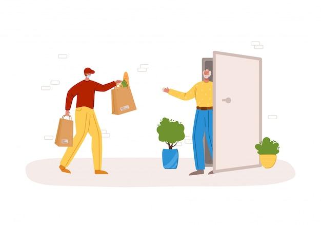 Концепция безопасной доставки - доставка продуктов или посылок на дом до входной двери, экспресс-курьерская служба для синезеров Premium векторы