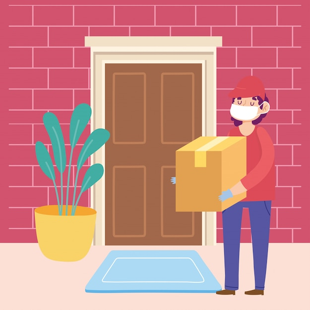 Safe delivery at home during coronavirus covid-19, courier man carrying cardboard box in door home Premium Vector