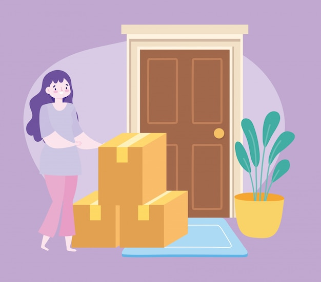 Safe delivery at home during coronavirus covid-19, female customer with cardboard boxes in door  illustration Premium Vector