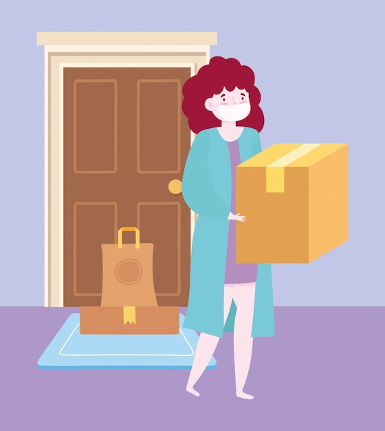 Safe delivery at home during coronavirus covid-19, woman carrying box and order in door Premium Vector