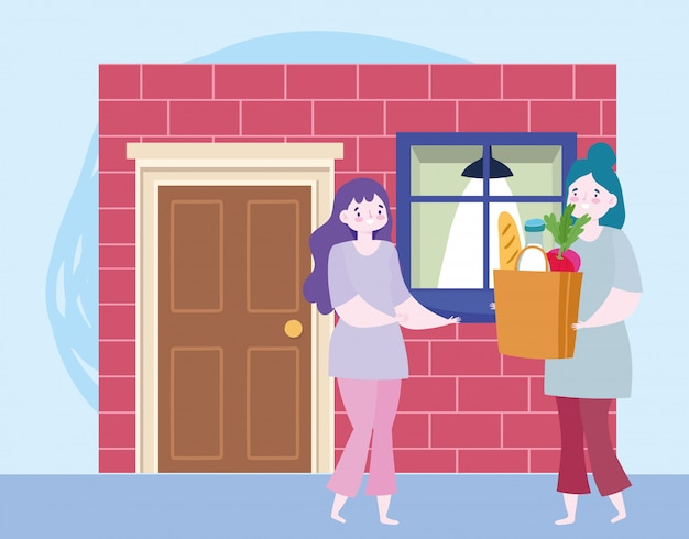 Safe delivery at home during coronavirus covid-19, women with grocery bag in door home  illustration Premium Vector