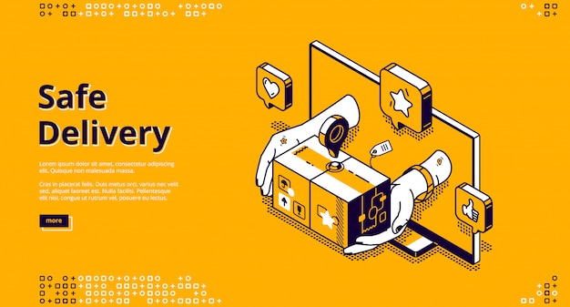 Safe delivery online service isometric landing Free Vector