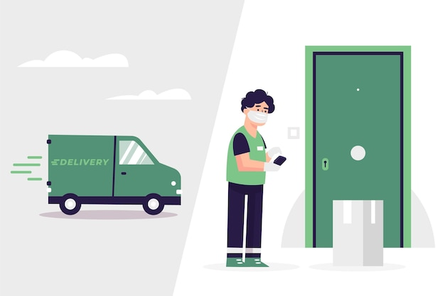 Safe food delivery concept Free Vector
