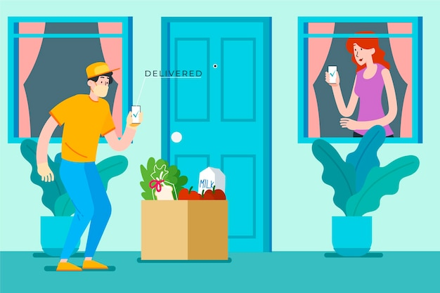 Safe food delivery at the door Free Vector