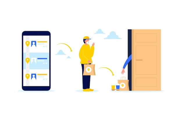 Safe food delivery illustrated Free Vector