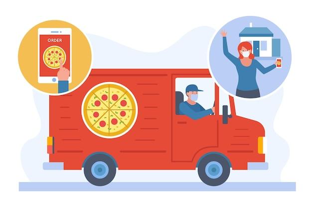 Illustrazione di consegna cibo sicuro Vettore gratuito