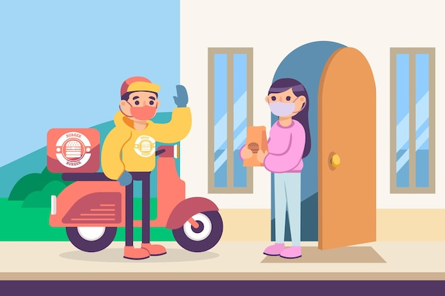 Safe food delivery keeping distance Free Vector