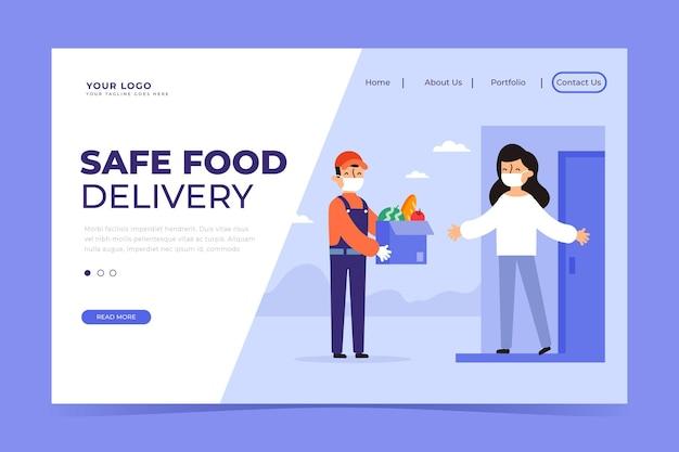 Pagina di destinazione per la consegna sicura degli alimenti Vettore gratuito
