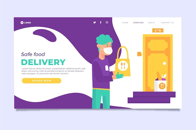 Safe food delivery landing page Premium Vector