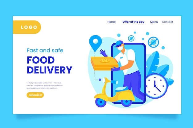Safe food delivery landing page Free Vector
