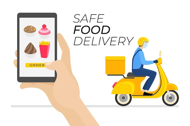 Safe food delivery order and receive Free Vector