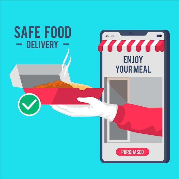 Safe food delivery services on mobile Free Vector