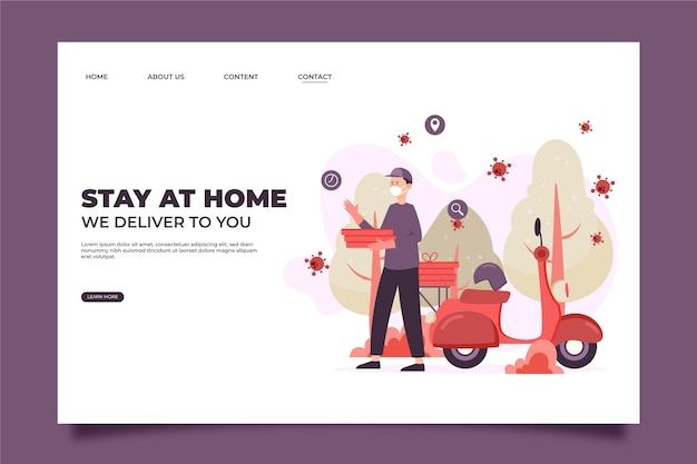 Safe food delivery stay at home landing page Free Vector