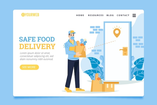 Safe food delivery with bags at the door landing page Premium Vector