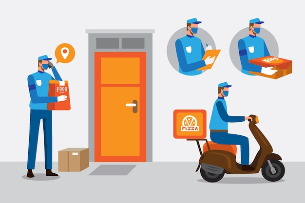 Safe food delivery with person on scooter Free Vector