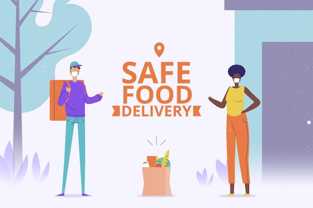 Safe food delivery Free Vector