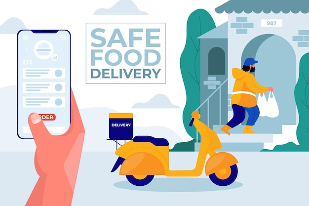 Safe food delivery Premium Vector