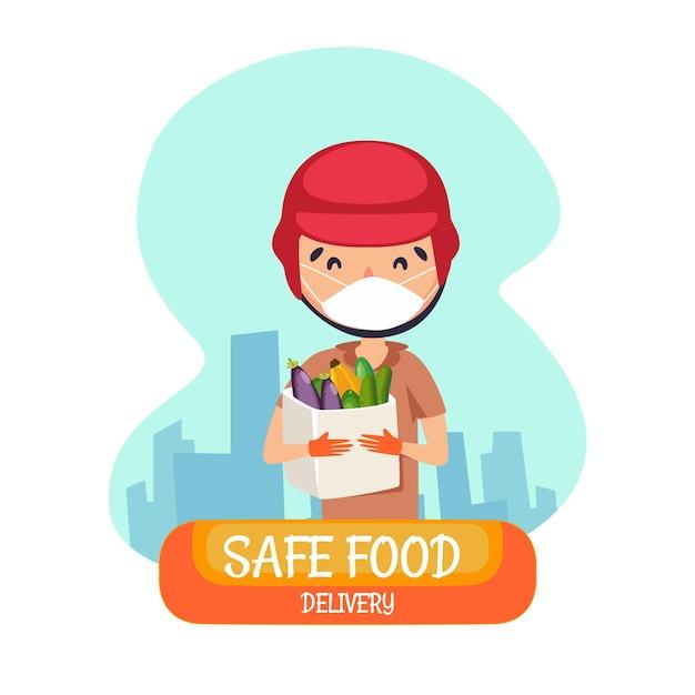 Safe food delivery Premium Vector