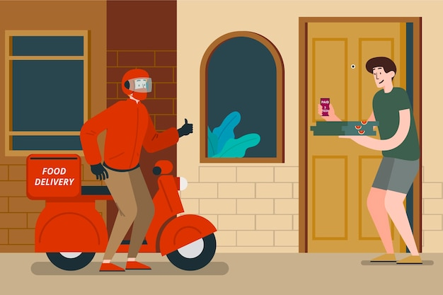 Safe food distance delivery at the door Premium Vector