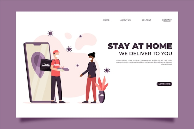 Safe food we deliver to you landing page Free Vector