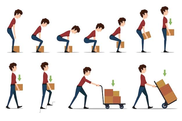 Безопасное обращение и транспортировка тяжелых предметов. коробка и человек, груз и рабочий, картон доставки, распределение и вес, Бесплатные векторы