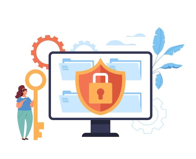 Безопасный заблокированный веб-сайт с использованием концепции Premium векторы