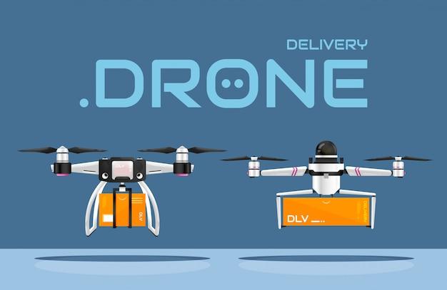 Сейф без контакта с доставкой товара с помощью воздушных дронов. два типа беспилотных летательных аппаратов, перевозящих посылки покупателю. инновационные технологии в ритейле. лучшие практики для предотвращения пандемии covid-19. Premium векторы