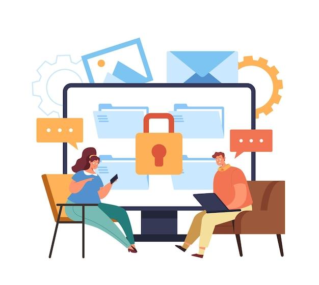 Безопасная онлайн-передача данных через интернет Premium векторы