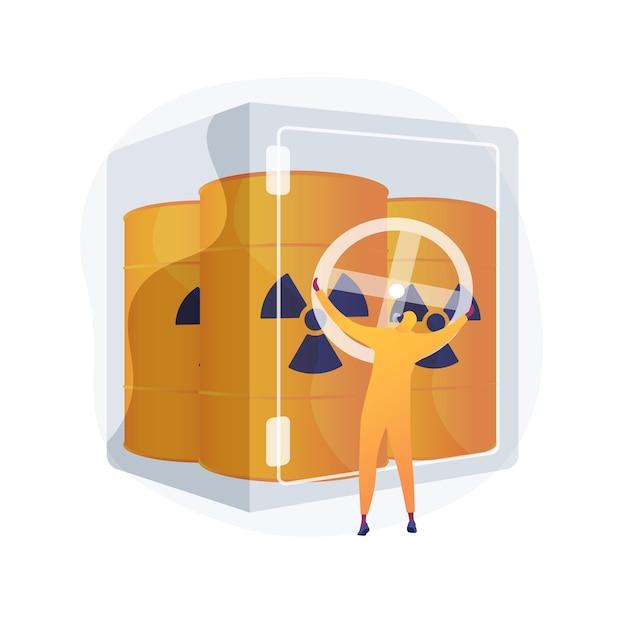 폐기물 추상적 인 개념 그림의 안전한 저장입니다. 화학 폐기물 관리, 유해 물질 보관, 안전한 용기, 분류 및 재활용, 위험 물질 무료 벡터