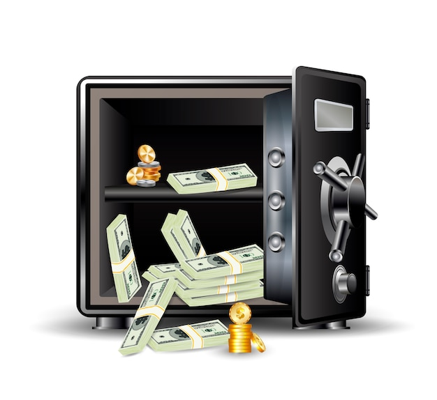 Safe with money and coins Premium Vector