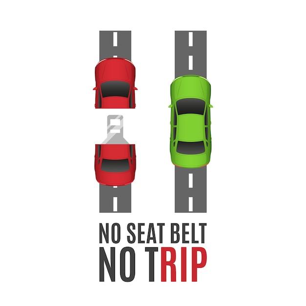 安全ベルトの概念的な背景。2台の車、道路とシートベルトの安全ベルトの概念的な背景。 Premiumベクター