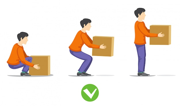 Safety correct lifting of heavy box illustration. instruction correct lifting load Premium Vector