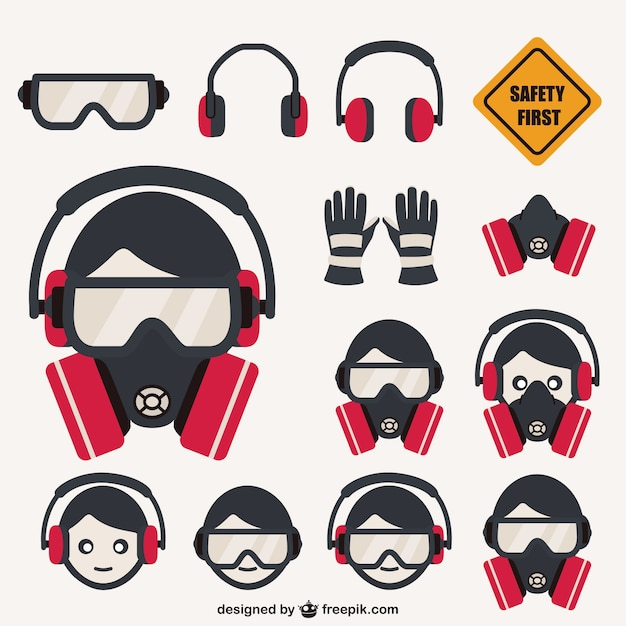 Safety elements pack Free Vector