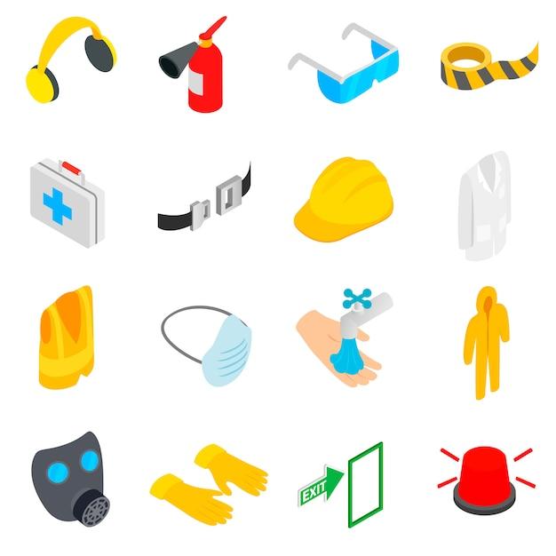 Safety icons set Premium Vector