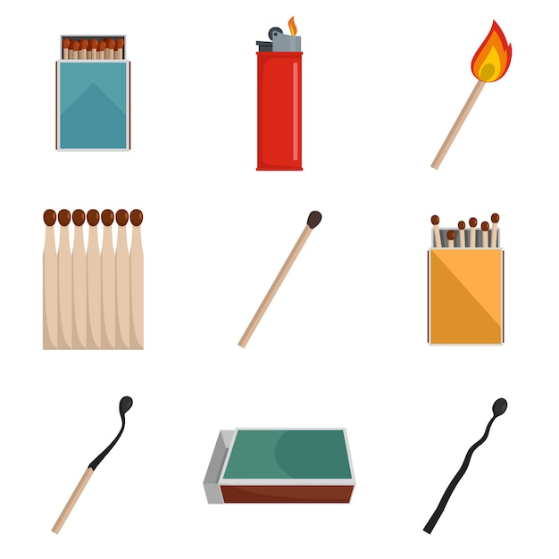 Safety match ignite burn icons set vector isolated Premium Vector