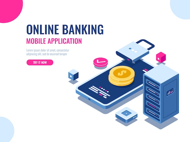 Safety of money on internet, protected transaction payment, mobile application online bank Free Vector