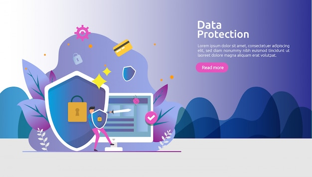Safety network security and confidential data protection with people character Premium Vector